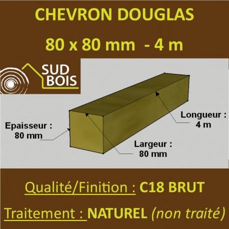 Chevron / Poteau 80x80 Douglas Autoclave Marron Sec Brut Qualité Charpente 4m