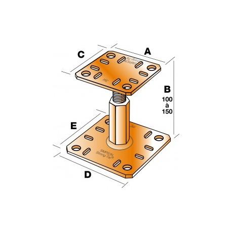 Pied de poteau réglable hauteur 100 à 150 mm SIMPSON