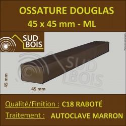 Tasseau / Carrelet 45x45 Douglas Sec Raboté Autoclave Marron Choix 2-3 en 4m
