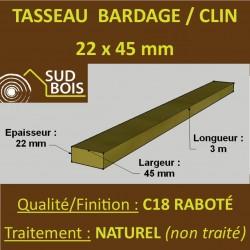♦ Tasseau 22x45 Douglas Choix 2-3 Raboté pour Bardage Finition Raboté