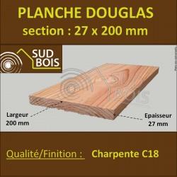 """Planche 27x200mm Bois Douglas Finition Raboté Traité Incolore """"Label Vert"""" Classe 2 Longueur 2 m"""