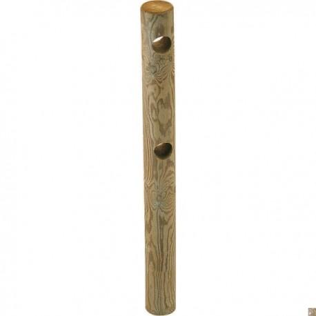 Poteau Bois Percé 2 trous pour Clôture 2 Lisses Ø 140mm 1m50 Pin Classe 4