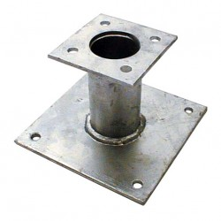 Pied de poteau fixe 70mm double platine galvanisé à chaud
