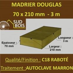 Bastaing / Madrier 70x210 Douglas Autoclave Marron Sec Raboté Qualité Charpente 3m
