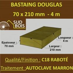 Bastaing / Madrier 70x210 Douglas Autoclave Marron Sec Raboté Qualité Charpente 4m
