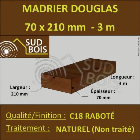 Bastaing / Madrier 70x210 mm Douglas Naturel Raboté 4 Faces 3m