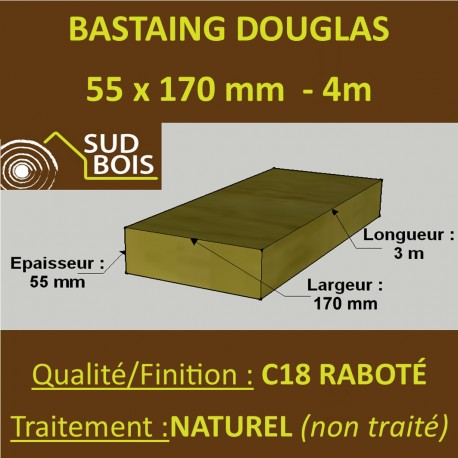 Bastaing / Madrier 55x170 Douglas Naturel Sec Raboté Qualité Charpente 4m