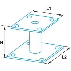 Pied de poteau fixe double platine galvanisé à chaud 100mm