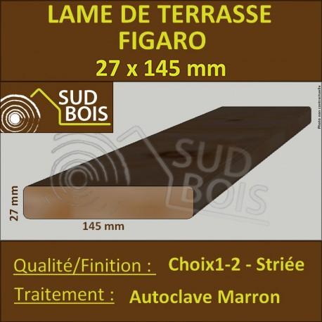 ► Lame de Terrasse Bois FIGARO 27x145 Douglas Autoclave Marron Striée 1er Choix Prix/m²