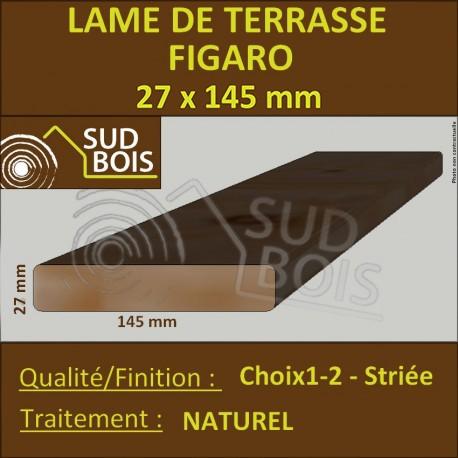 ► Lame de Terrasse Bois FIGARO 27x145 Douglas Naturel Striée 1er Choix Prix/m²