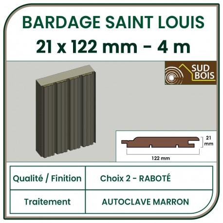 ♦ Lame de Bardage Bois St Louis 21x125 Douglas Autoclave Marron 2ème Choix 4m