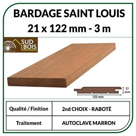 ♦ Lame de Bardage Bois St Louis 21x125 Douglas Autoclave Marron 2ème Choix 3m
