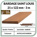♦ ◙ Lame de Bardage Bois St Louis 21x125 Douglas Autoclave Marron 2ème Choix 3m