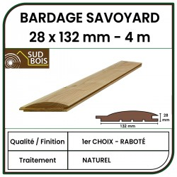 Lame de Bardage Bois Savoyard 28x132 Douglas Naturel Raboté 1er Choix 4m