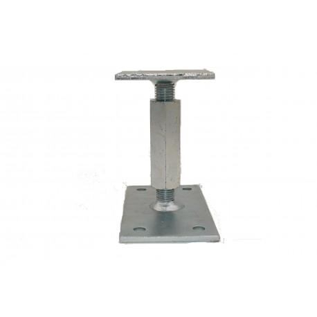 Pied de poteau réglable hauteur H140/200mm universel galvanisé