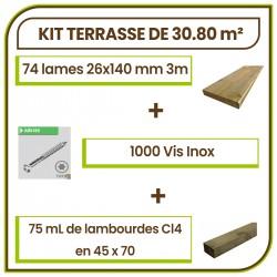 ☺ Kit Terrasse 30.80 m² Douglas Autoclave Marron Choix Standard Lisse. Livraison Gratuite