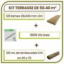 ☺ Kit Terrasse 50.40 m² Douglas Autoclave Marron Choix Standard Lisse. Livraison Gratuite