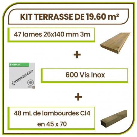 ☺ Kit Terrasse 19.60 m² Douglas Autoclave Marron Choix Standard Lisse. Livraison Gratuite