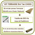 Kit 5 m² Terrasse Douglas Naturel Choix Premium Lisse 28mm