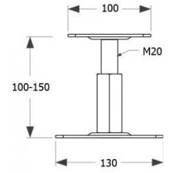 Kit Prêt à Fixer Pied de Poteau Réglable Hauteur de 100 à 150 mm