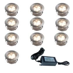 Set de 10 spots LED Couleur RGB ou Blanc Chaud + Transformateur 30W + Télécommande incluse (Couleur RGB uniquement)