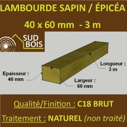 Lambourde 60x40mm Sapin/Epicéa Naturel 3M
