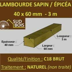 Lambourde 60x40mm Sapin/Epicéa Naturel 3M